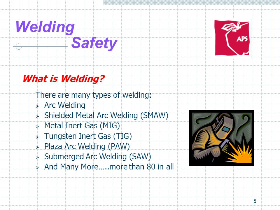 5 Welding Safety What is Welding? There are many types of welding:  Arc Welding  Shielded Metal Arc Welding (SMAW)  Metal Inert Gas (MIG)  Tungste