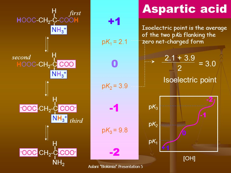 Aulani Biokimia Presentation 5 Amino acids -COOH-NH 2 -R GlyG2.349.60 AlaA2.349.69 ValV2.329.62 LeuL2.369.68 IleI2.369.68 SerS2.219.15 ThrT2.6310.4 MetM2.289.21 PheF1.839.13 TrpW2.389.39 AsnN2.028.80 GlnQ2.179.13 ProP1.9910.6 AspD2.099.823.86 GluE2.199.674.25 HisH1.829.176.0 CysC1.7110.88.33 TyrY2.209.1110.07 LysK2.188.9510.53 ArgR2.179.0412.48 pK1pK1 pK1pK1 pK2pK2 pK2pK2 pK3pK3 [OH - ] pH pI pI .