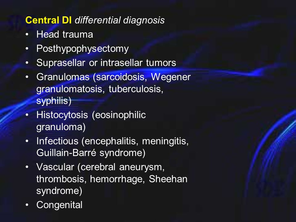 Adipsic hypernatremia differential diagnosis Vascular (15%) - Anterior communicating artery aneurysm or postligation syndrome, intrahypothalmic hemorr