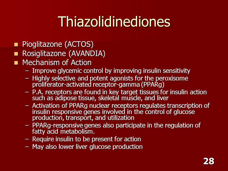 28 Thiazolidinediones Pioglitazone (ACTOS) Pioglitazone (ACTOS) Rosiglitazone (AVANDIA) Rosiglitazone (AVANDIA) Mechanism of Action Mechanism of Actio