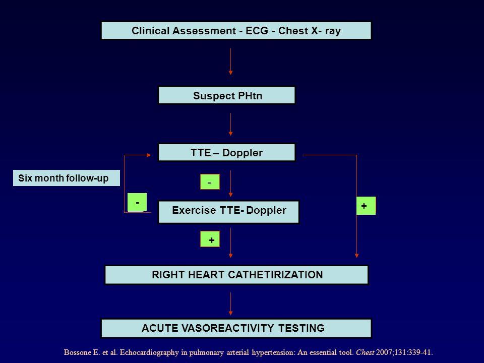 Suspect PHtn Exercise TTE- Doppler TTE – Doppler Clinical Assessment - ECG - Chest X- ray ACUTE VASOREACTIVITY TESTING RIGHT HEART CATHETIRIZATION - +