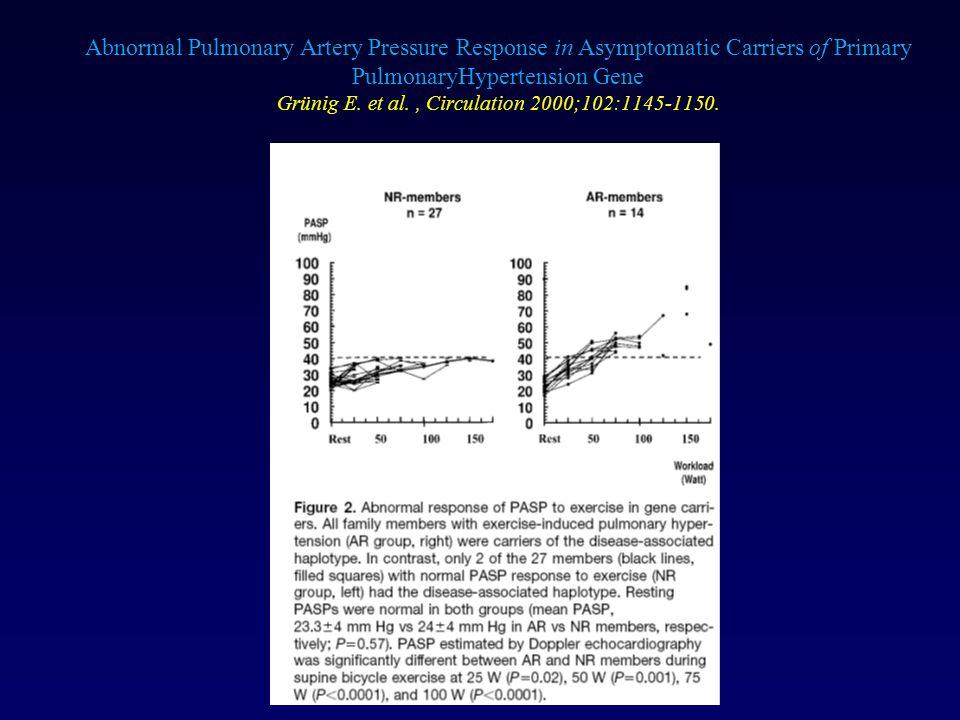 Abnormal Pulmonary Artery Pressure Response in Asymptomatic Carriers of Primary PulmonaryHypertension Gene Grünig E. et al., Circulation 2000;102:1145