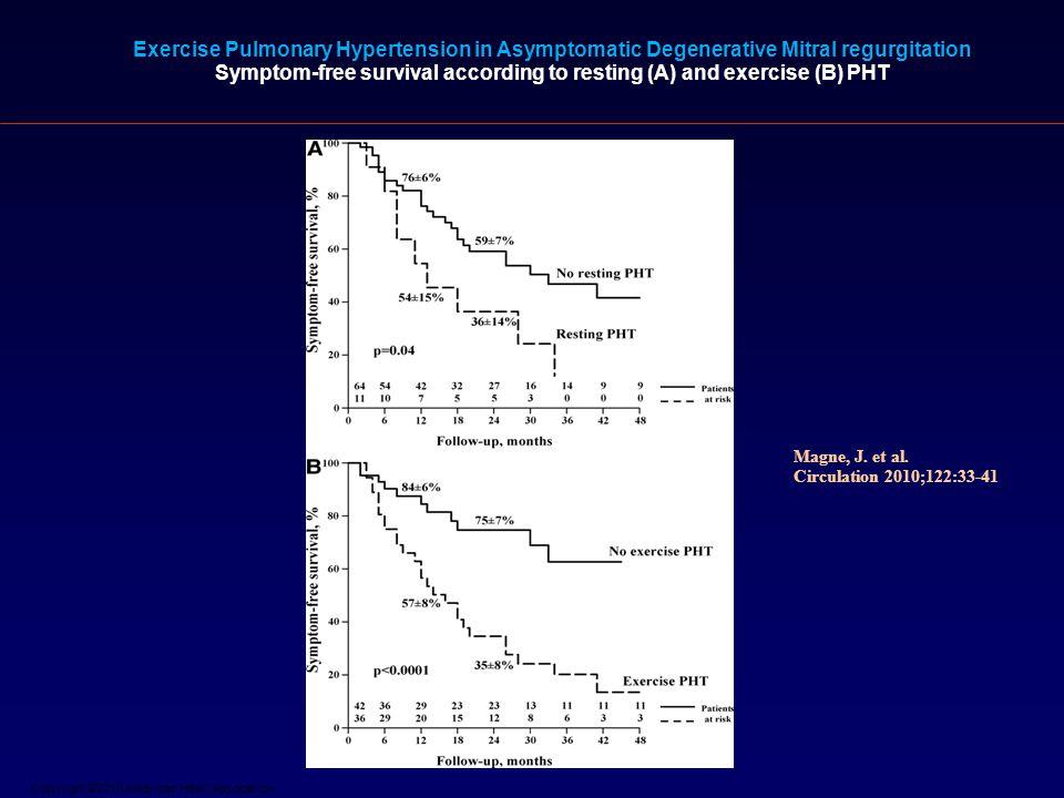 Copyright ©2010 American Heart Association Magne, J. et al. Circulation 2010;122:33-41 Exercise Pulmonary Hypertension in Asymptomatic Degenerative Mi