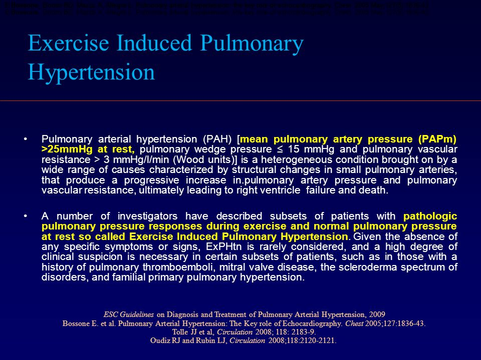 Exercise Induced Pulmonary Hypertension Pulmonary arterial hypertension (PAH) [mean pulmonary artery pressure (PAPm) >25mmHg at rest, pulmonary wedge