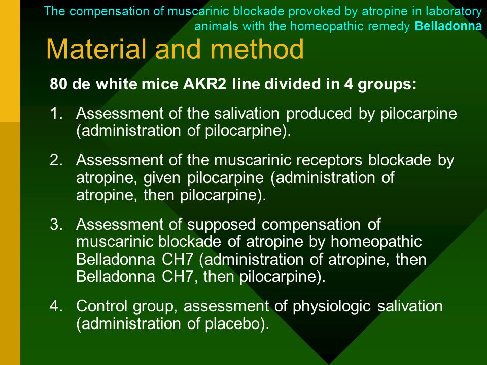 Material and method 80 de white mice AKR2 line divided in 4 groups: 1.Assessment of the salivation produced by pilocarpine (administration of pilocarpine).