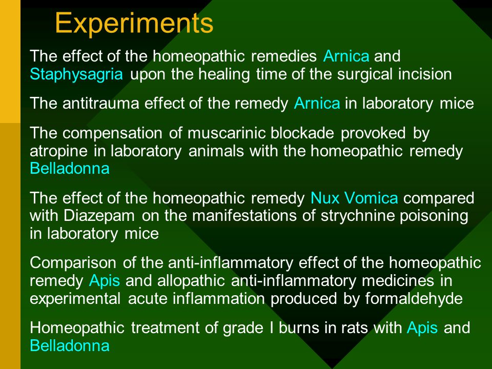 Material and method Step 4 - subcutaneous injection with 1% clorhidric pilocarpine The compensation of muscarinic blockade provoked by atropine in laboratory animals with the homeopathic remedy Belladonna