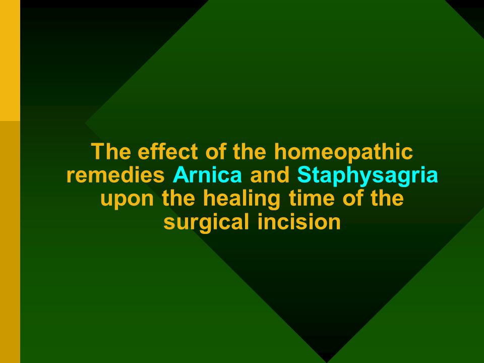 Previous studies made around the world with homeopathic Arnica –contradictory results experimental studies with Staphysagria - missing What are the benefits in surgery.