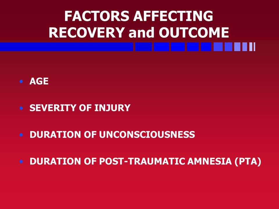 FACTORS AFFECTING RECOVERY and OUTCOME AGE SEVERITY OF INJURY DURATION OF UNCONSCIOUSNESS DURATION OF POST-TRAUMATIC AMNESIA (PTA)
