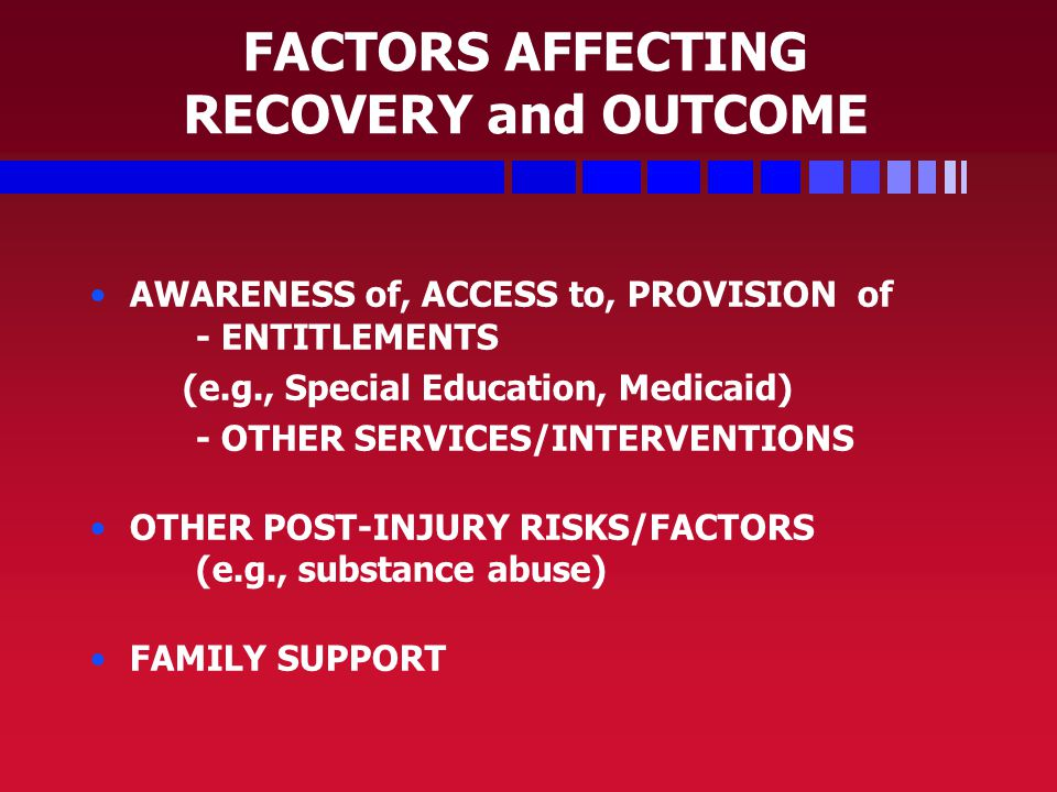 FACTORS AFFECTING RECOVERY and OUTCOME AWARENESS of, ACCESS to, PROVISION of - ENTITLEMENTS (e.g., Special Education, Medicaid) - OTHER SERVICES/INTERVENTIONS OTHER POST-INJURY RISKS/FACTORS (e.g., substance abuse) FAMILY SUPPORT