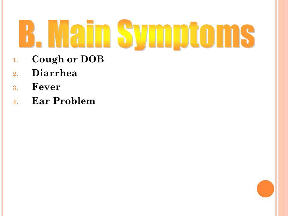 13 1. Cough or DOB 2. Diarrhea 3. Fever 4. Ear Problem