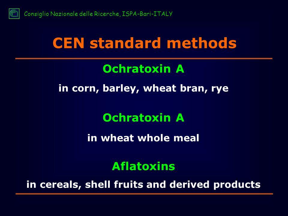 CEN standard methods Ochratoxin A in corn, barley, wheat bran, rye Ochratoxin A in wheat whole meal Aflatoxins in cereals, shell fruits and derived products Consiglio Nazionale delle Ricerche, ISPA-Bari-ITALY