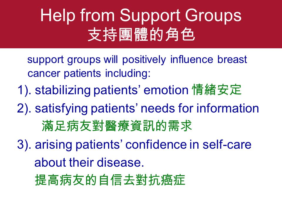 Help from Support Groups 支持團體的角色 support groups will positively influence breast cancer patients including: 1).