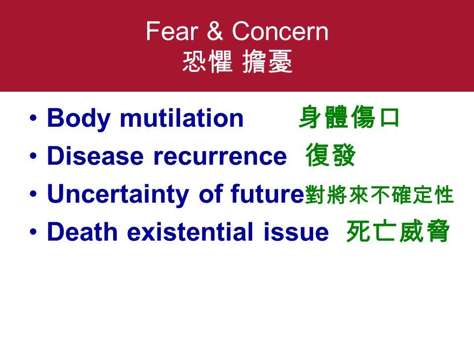 Fear & Concern 恐懼 擔憂 Body mutilation 身體傷口 Disease recurrence 復發 Uncertainty of future 對將來不確定性 Death existential issue 死亡威脅