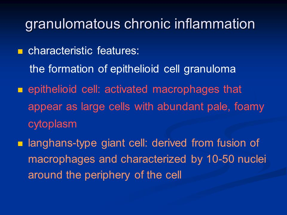 granulomatous chronic inflammation characteristic features: the formation of epithelioid cell granuloma epithelioid cell: activated macrophages that appear as large cells with abundant pale, foamy cytoplasm langhans-type giant cell: derived from fusion of macrophages and characterized by 10-50 nuclei around the periphery of the cell