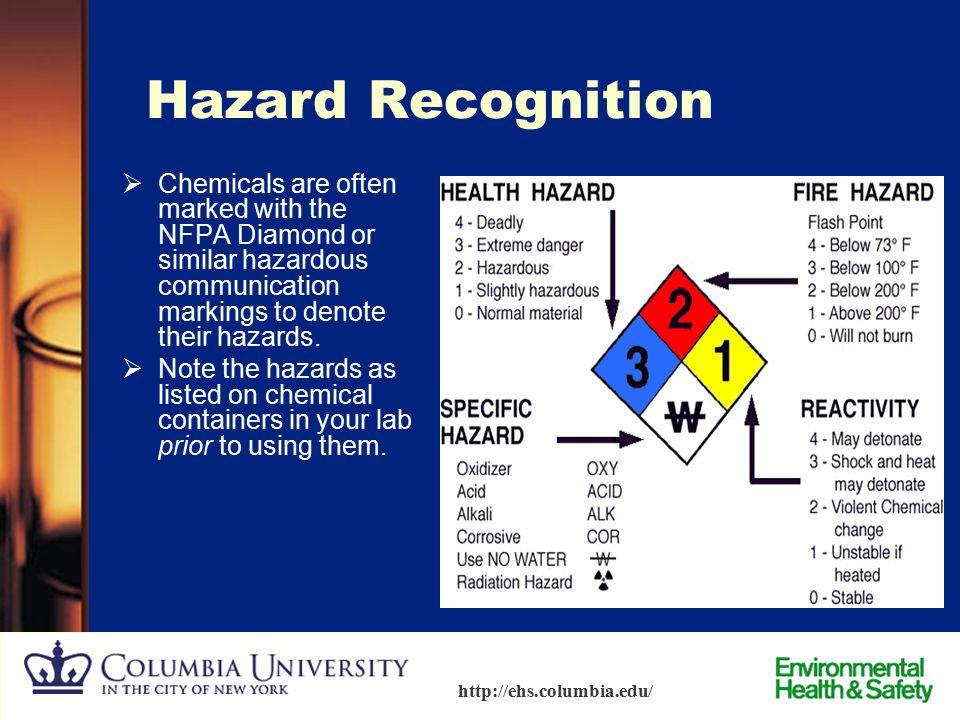 12 http://ehs.columbia.edu/ Hazard Recognition Sources of hazard information:  USDOT (Department of Transportation) Diamonds  NFPA (National Fire Pr