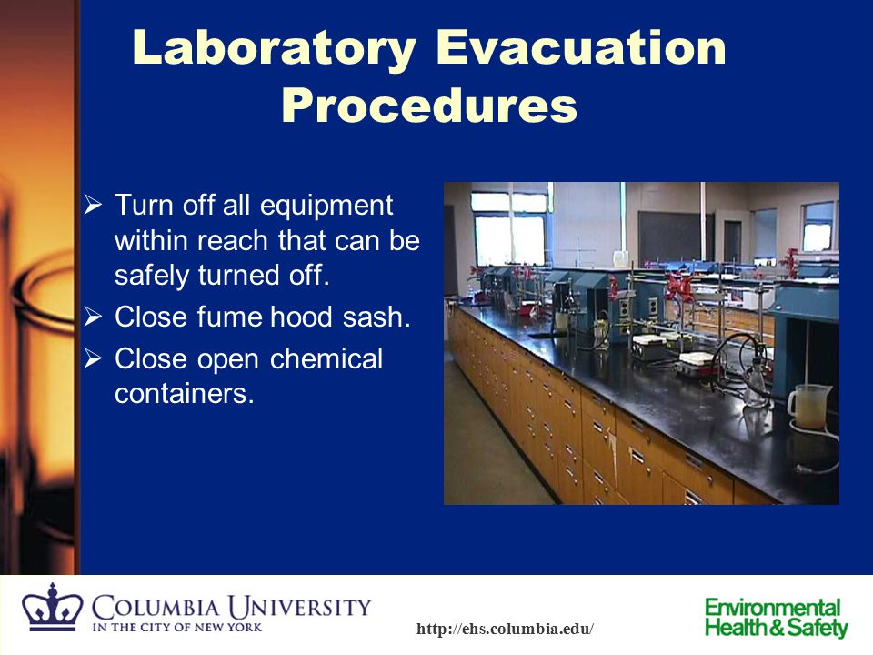 62 http://ehs.columbia.edu/ What to do in the Event of a Real Fire Fight or Flight? – If you go:  If smoke and heat permit, stay low and crawl to saf