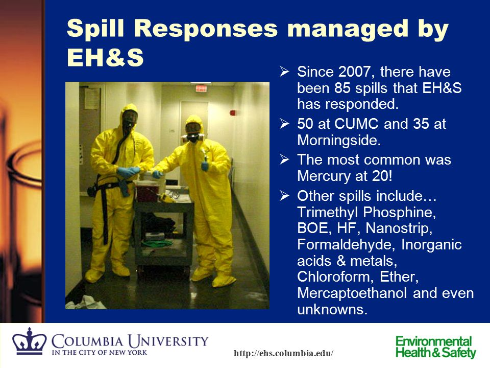 86 http://ehs.columbia.edu/ Spills and Emergency Response – Unmanageable Spills  Do not attempt to clean up.  Turn off ignition sources.  Evacuate