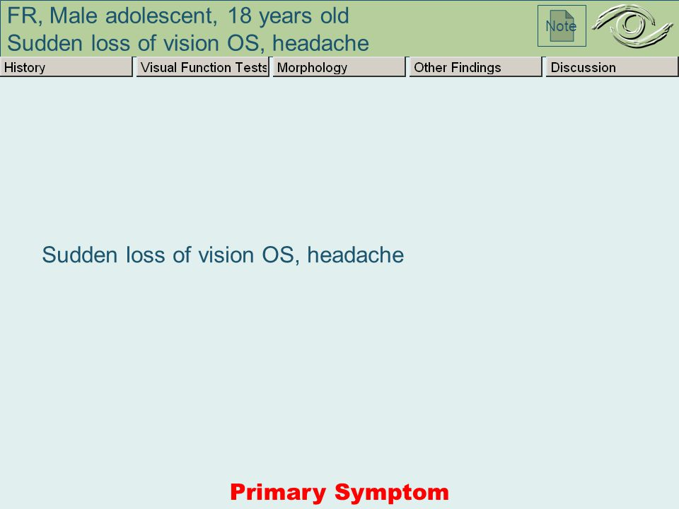 FR, Male adolescent, 18 years old Sudden loss of vision OS, headache Note Sudden loss of vision OS, headache Primary Symptom