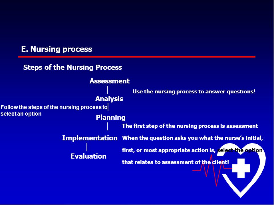 E. Nursing process Steps of the Nursing Process Assessment │ Analysis │ Use the nursing process to answer questions! Follow the steps of the nursing p