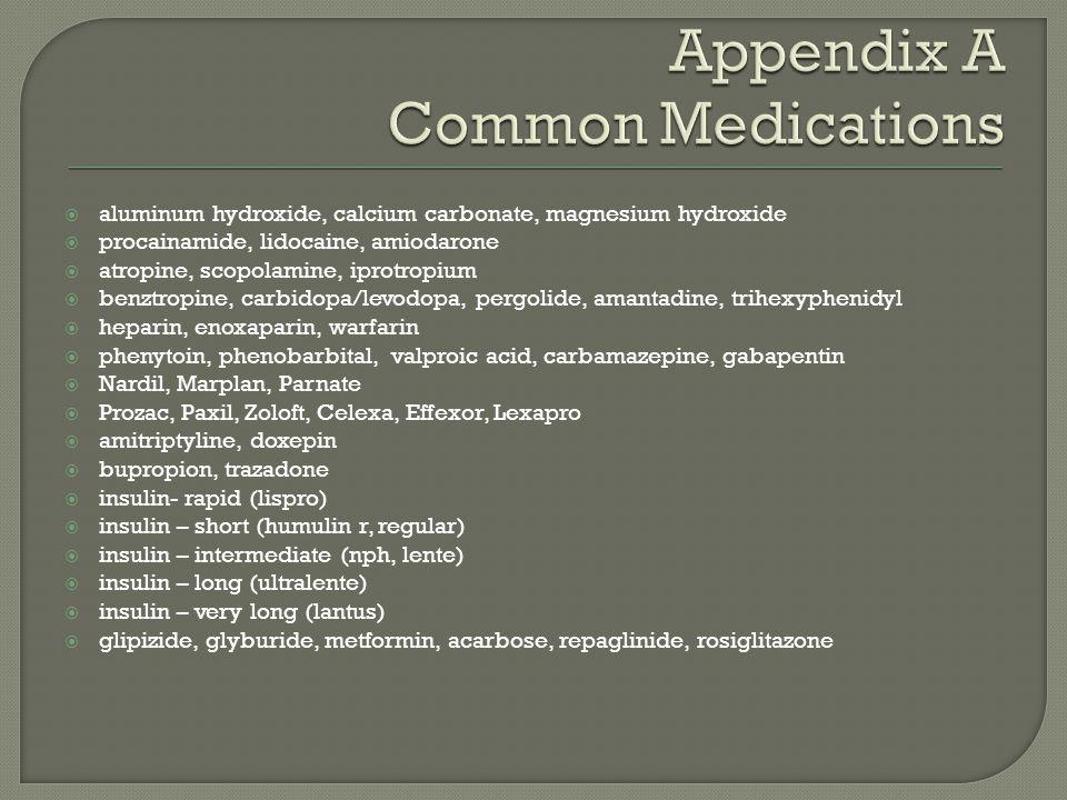  aluminum hydroxide, calcium carbonate, magnesium hydroxide  procainamide, lidocaine, amiodarone  atropine, scopolamine, iprotropium  benztropine,