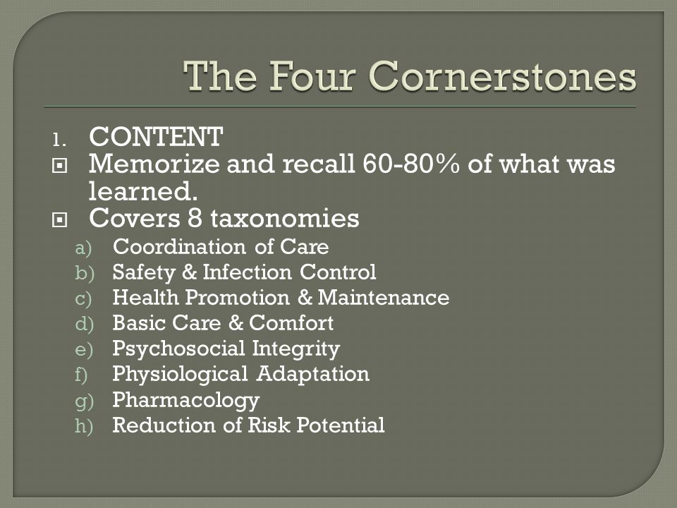 1. CONTENT  Memorize and recall 60-80% of what was learned.