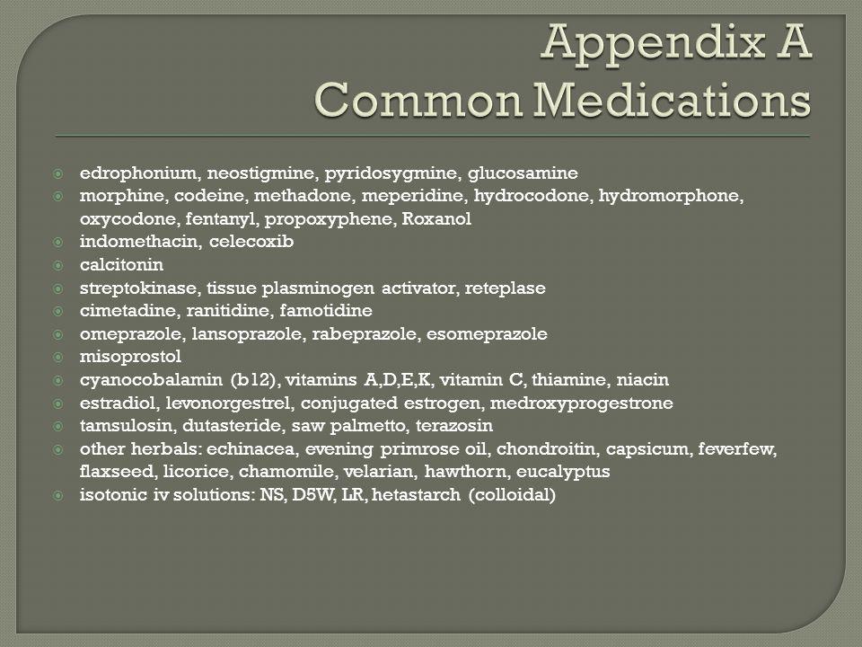  edrophonium, neostigmine, pyridosygmine, glucosamine  morphine, codeine, methadone, meperidine, hydrocodone, hydromorphone, oxycodone, fentanyl, pr