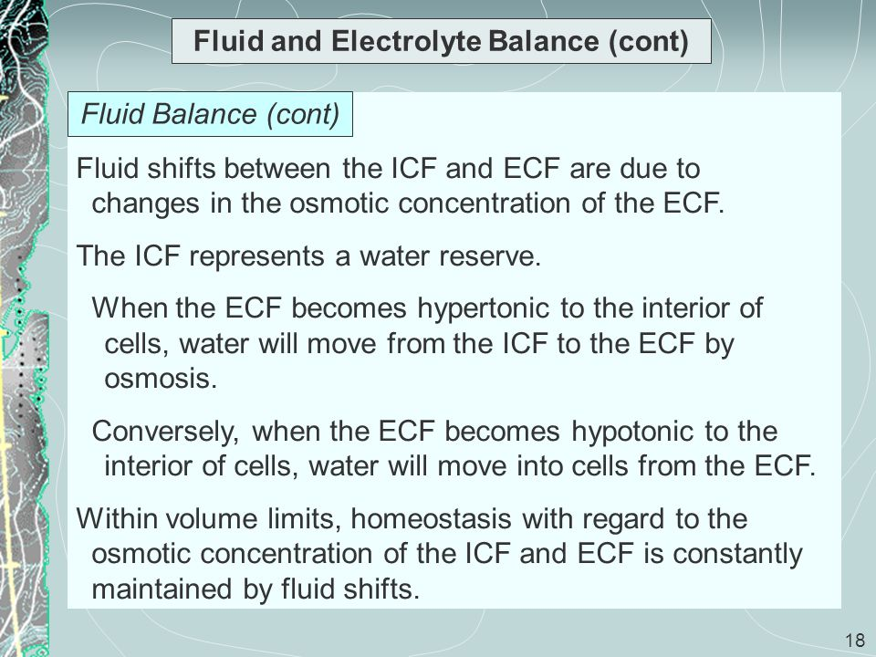 18 Fluid and Electrolyte Balance (cont) Fluid shifts between the ICF and ECF are due to changes in the osmotic concentration of the ECF. The ICF repre