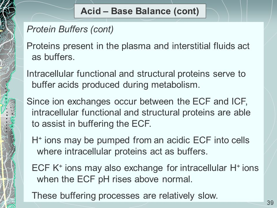 39 Acid – Base Balance (cont) Protein Buffers (cont) Proteins present in the plasma and interstitial fluids act as buffers. Intracellular functional a