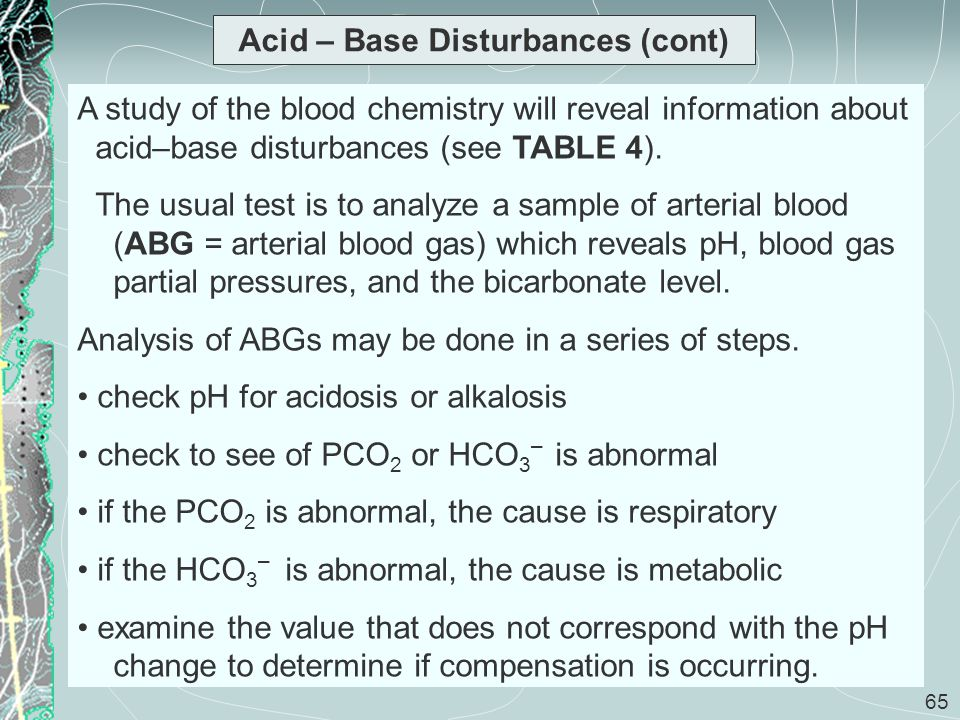 65 Acid – Base Disturbances (cont) A study of the blood chemistry will reveal information about acid–base disturbances (see TABLE 4). The usual test i