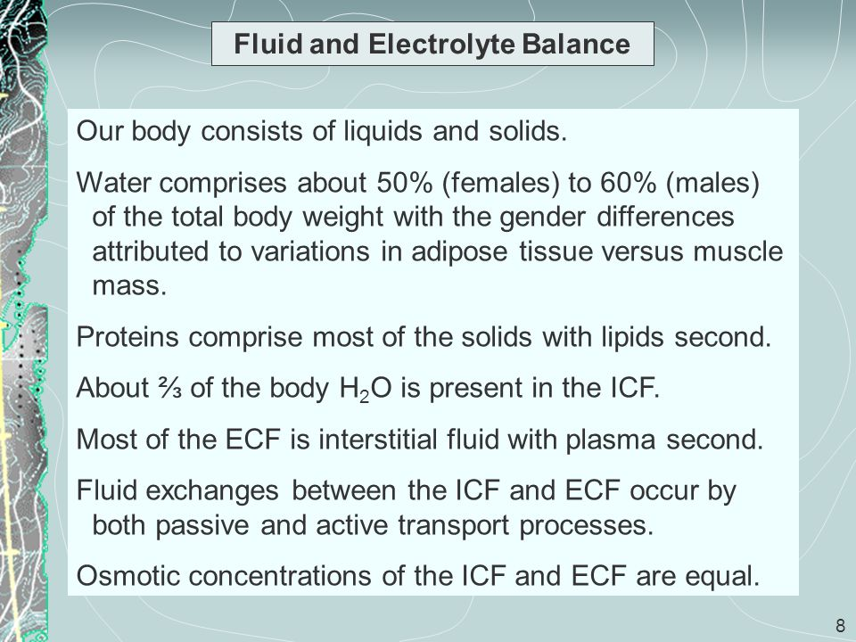 29 Fluid and Electrolyte Balance (cont) Phosphate ions are used in bone mineralization, as cofactors, in making ATP and other high energy compounds, and for the synthesis of nucleic acids.