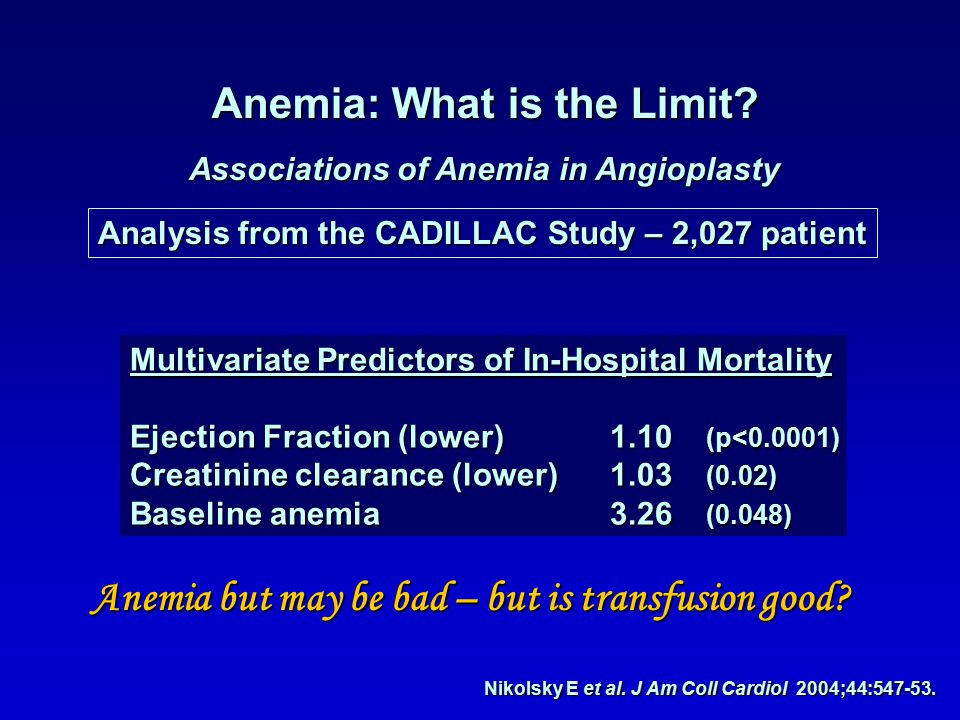 Anemia: What is the Limit. Associations of Anemia in Angioplasty Nikolsky E et al.