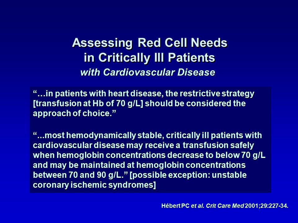 Hébert PC et al. Crit Care Med 2001;29:227-34.