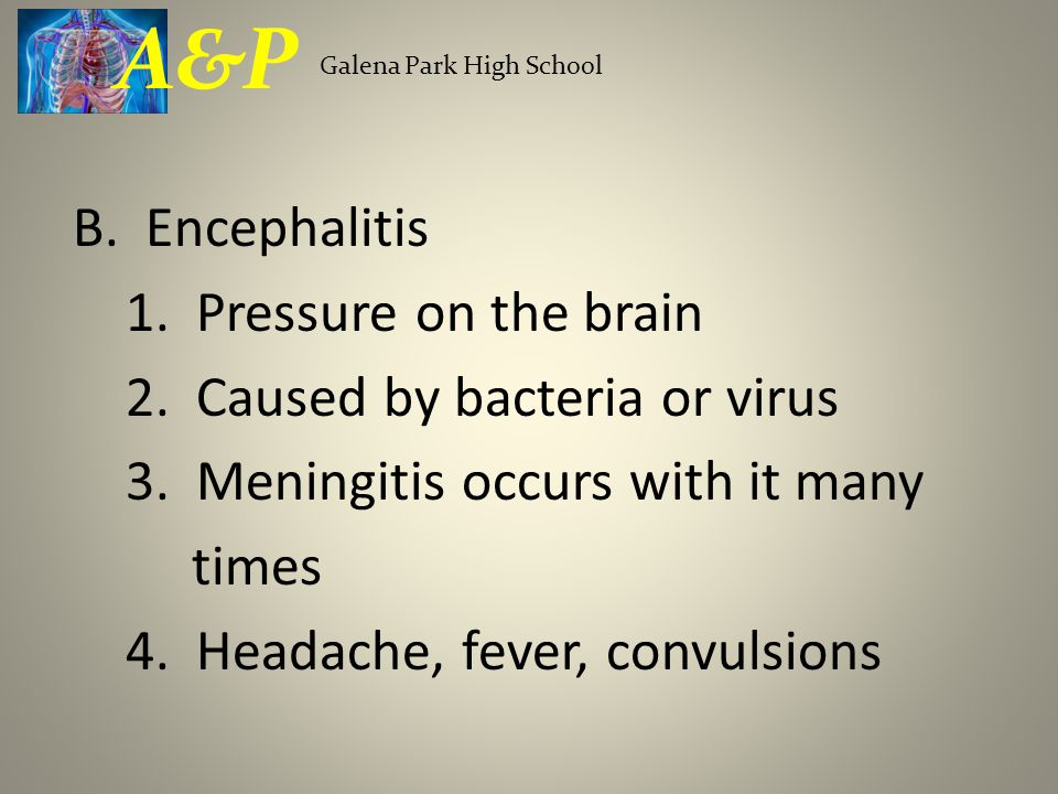 B. Encephalitis 1. Pressure on the brain 2. Caused by bacteria or virus 3.