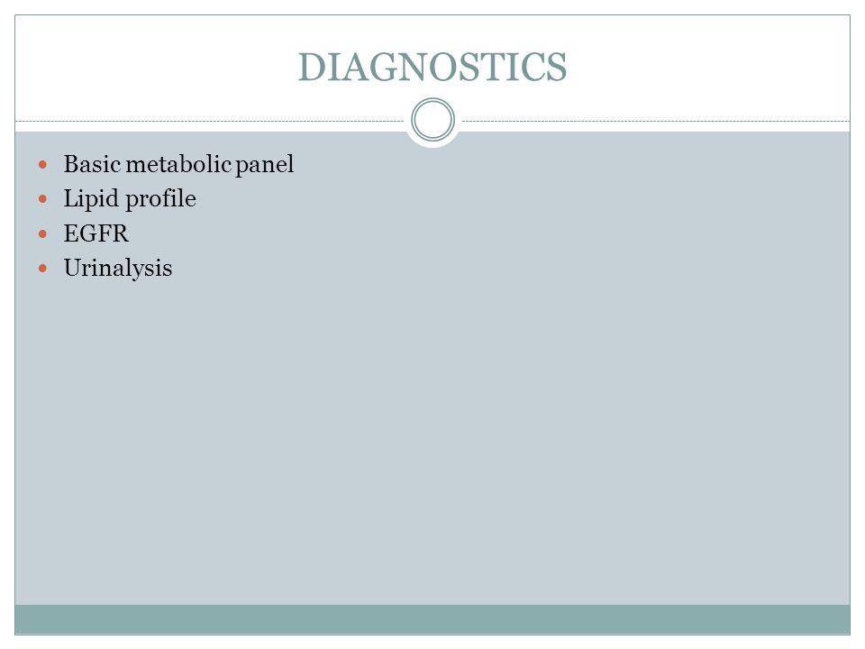DIAGNOSTICS Basic metabolic panel Lipid profile EGFR Urinalysis