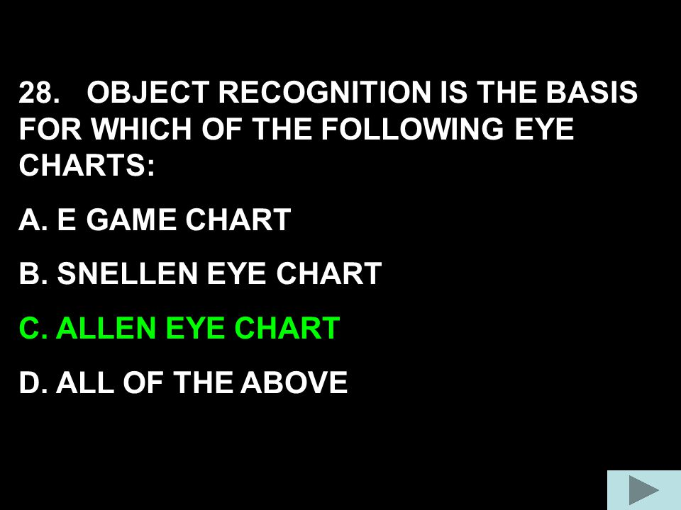 28. OBJECT RECOGNITION IS THE BASIS FOR WHICH OF THE FOLLOWING EYE CHARTS: A. E GAME CHART B. SNELLEN EYE CHART C. ALLEN EYE CHART D. ALL OF THE ABOVE