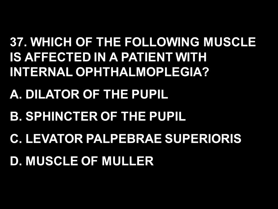 37. WHICH OF THE FOLLOWING MUSCLE IS AFFECTED IN A PATIENT WITH INTERNAL OPHTHALMOPLEGIA? A. DILATOR OF THE PUPIL B. SPHINCTER OF THE PUPIL C. LEVATOR