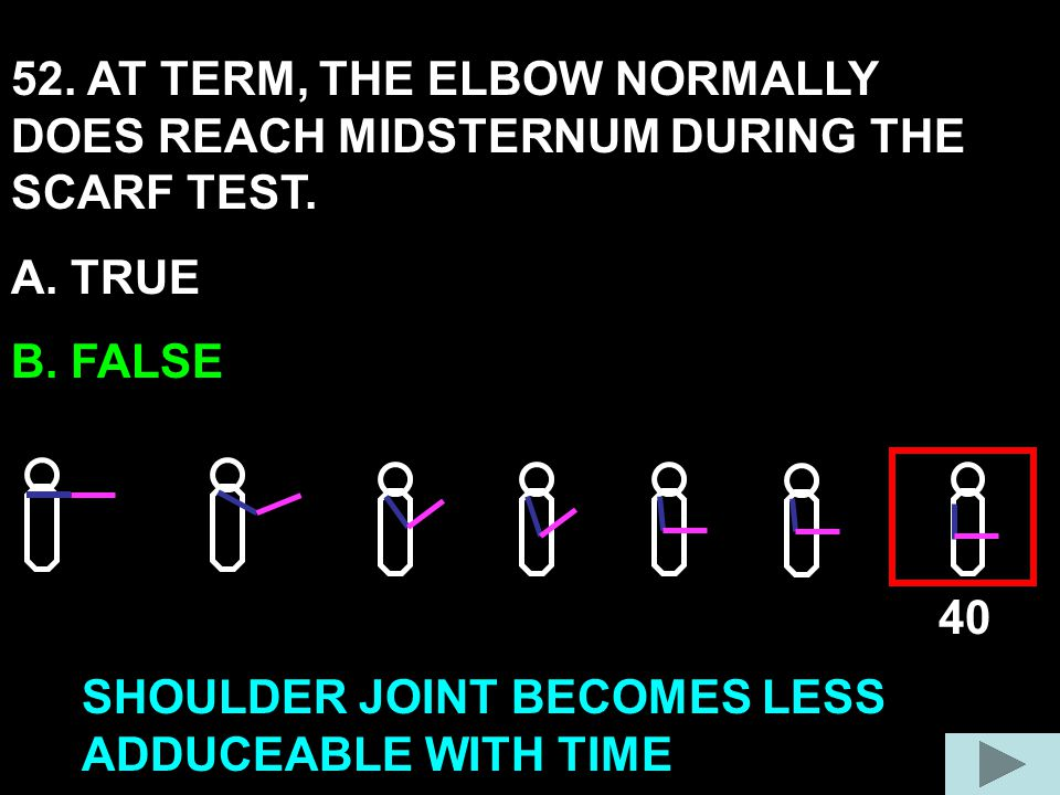 52. AT TERM, THE ELBOW NORMALLY DOES REACH MIDSTERNUM DURING THE SCARF TEST. A. TRUE B. FALSE 40 SHOULDER JOINT BECOMES LESS ADDUCEABLE WITH TIME