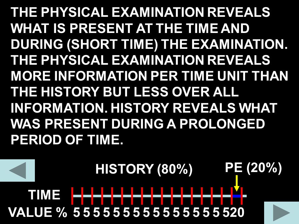 TIME THE PHYSICAL EXAMINATION REVEALS WHAT IS PRESENT AT THE TIME AND DURING (SHORT TIME) THE EXAMINATION. THE PHYSICAL EXAMINATION REVEALS MORE INFOR