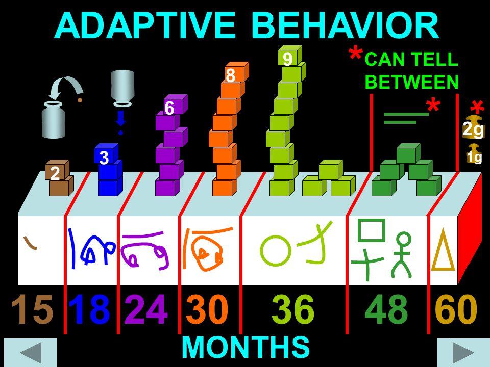 ADAPTIVE BEHAVIOR 9 8 24303648181560 * * MONTHS 6 3 2 1g 2g * CAN TELL BETWEEN