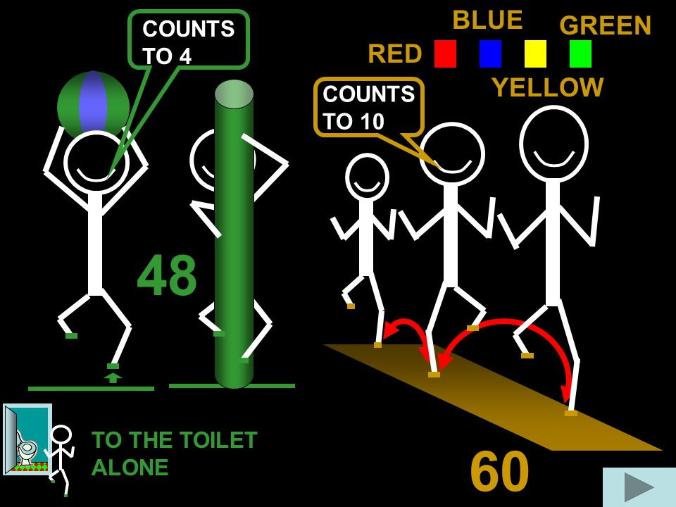 48 60 RED BLUE GREEN YELLOW COUNTS TO 10 COUNTS TO 4 TO THE TOILET ALONE