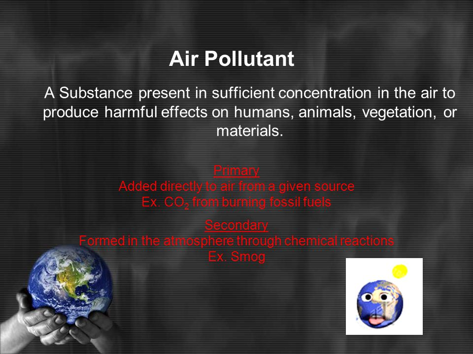 5 Major Air Pollutants Carbon Monoxide CO Nitrogen Oxides NO x Sulfur Oxides SO x Particulates Hydrocarbons
