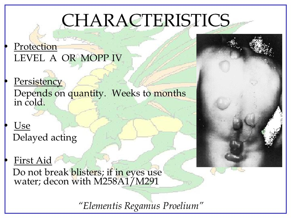 """Elementis Regamus Proelium"" CHARACTERISTICS Vapor Density: 5 to 7 times heavier than air Body Effects…irritation to eyes, tissues, and respiratory tr"
