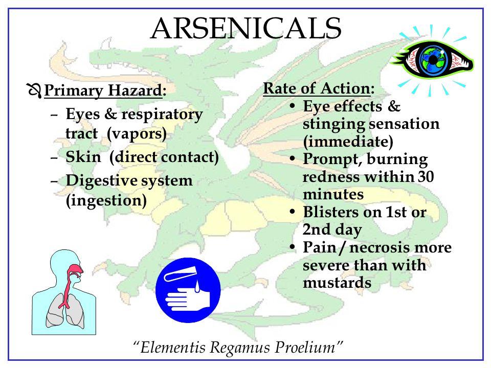 """Elementis Regamus Proelium"" ARSENICAL AGENT SYMPTOMS Ô Immediate pain (within 30 seconds) Ô Irritation of eyes Ô Reddening of the skin (within 30 min"