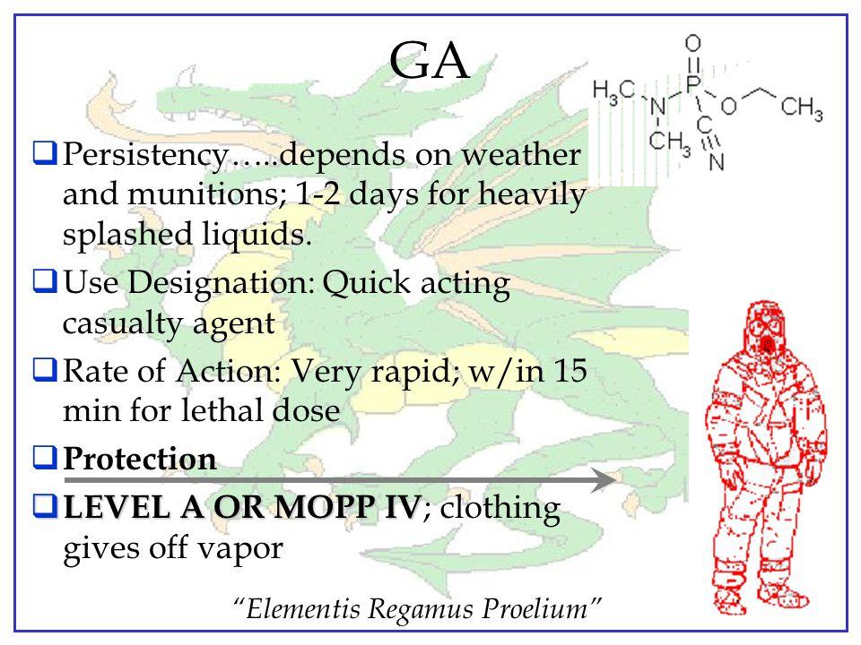 """Elementis Regamus Proelium"" TABUN - GA Non-Persistent Nerve Agent Appearance….. brownish to colorless liquid Odor…..faintly fruity; none when pure Va"