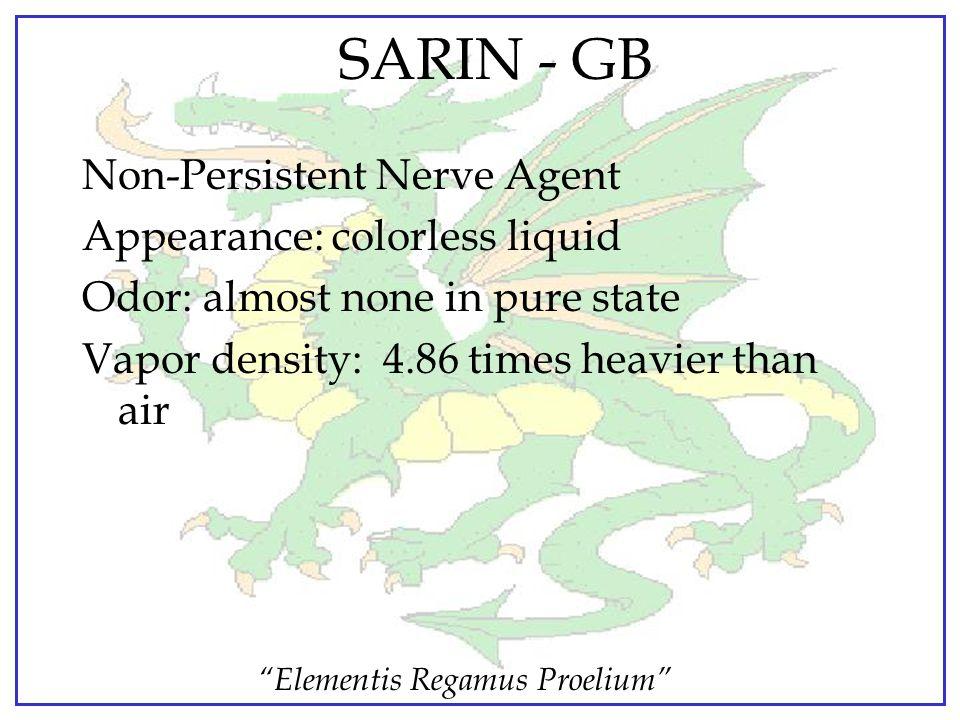 """Elementis Regamus Proelium"" GA  Persistency…..depends on weather and munitions; 1-2 days for heavily splashed liquids.  Use Designation: Quick acti"