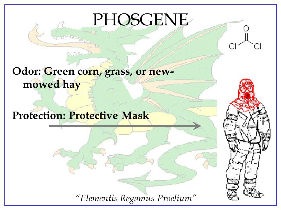 """""""Elementis Regamus Proelium"""" CHOKING AGENTS CG PHOSGENE Physiological Action: Symptomsthree to four hours after exposuredeath within 24 hours Effects"""