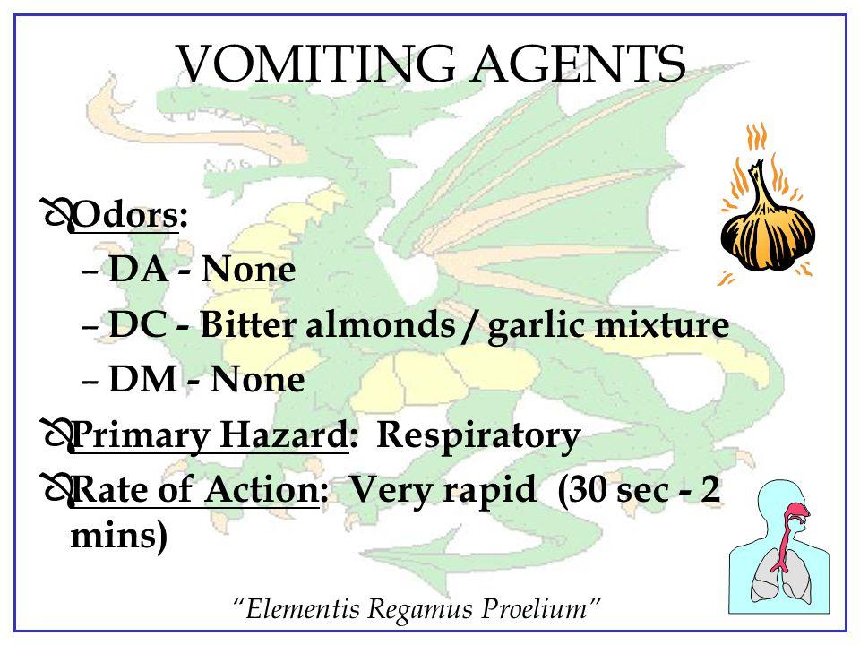 """Elementis Regamus Proelium"" VOMITING AGENTS CHARACTERISTICS DA/DC/DM Ô Persistency: Non-persistent (aerosol) Ô Physical States: (at 20 deg C / 68 deg"