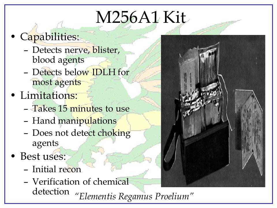 """Elementis Regamus Proelium"" Chemical Identification Kits ""Wet chemistry"" chemical agent identification kits –Vapors only –Good specificity Colorimetr"
