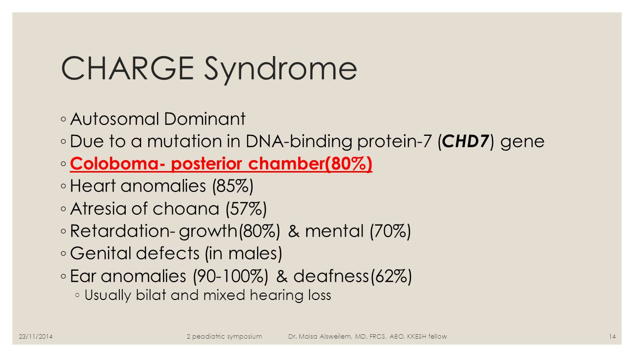 CHARGE Syndrome ◦ Autosomal Dominant ◦ Due to a mutation in DNA-binding protein-7 ( CHD7 ) gene ◦ Coloboma- posterior chamber(80%) ◦ Heart anomalies (