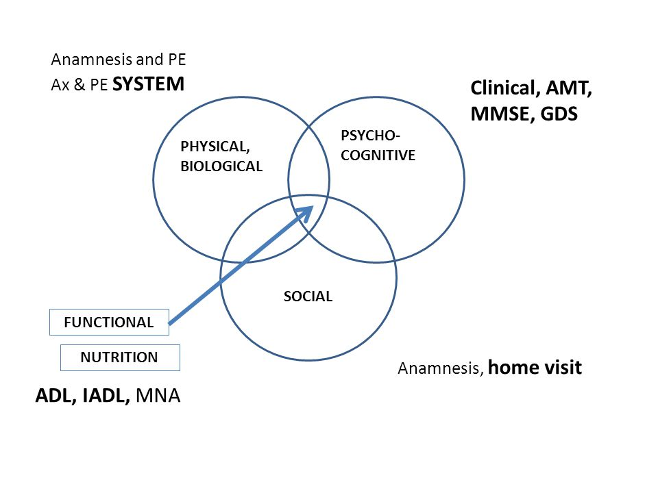 PHYSICAL, BIOLOGICAL PSYCHO- COGNITIVE SOCIAL FUNCTIONAL Anamnesis and PE Ax & PE SYSTEM Clinical, AMT, MMSE, GDS Anamnesis, home visit ADL, IADL, MNA NUTRITION